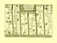 Lichfield to Chester inc.Rugeley, Nantwich, Stone Replica 17c OGILBY Old  Map