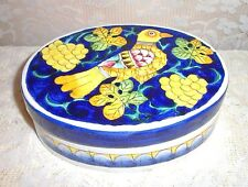 Italian Ceramic Hand Painted Dove And Golden Grape Art Pottery/Jewelry Box