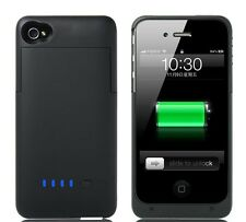 Black 1900mAh PORTABLE EXTERNAL PACK BACKUP BATTERY CHARGER CASE FOR iPhone 4 4S