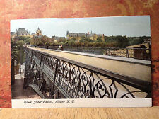 Hawk Street Viaduct Albany NY Sheridan Hallow Antique Postcard Color Unposted