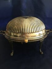 "Large Revolving Dome Silver Breakfast Warmer ~ Claw foot ~ England ~ ""C"""