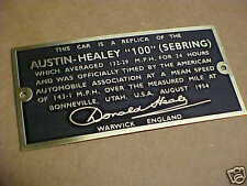 Austin Healey 100 Sebring MPH Bonneville Plate Donald Healey Signature Etched Br