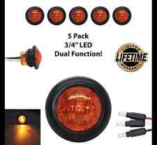 """(5) 3/4"""" Amber LED Dual Function Clearance/Turn/Marker Light LIFETIME WARRANTY"""