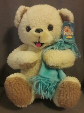 """TOY CONNECTION Snuggle Teddy Bear Stuffed Plush w/Blue Blanket WITH TAG 13"""" 2000"""