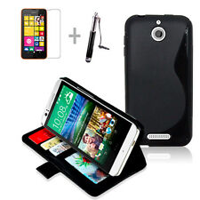 BLACK Wallet 4in1 Accessory Bundle Kit Case Cover For HTC Desire 510