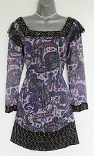 MONSOON Black Purple Paisley Print Embroidered Long Sleeve Tunic Dress 12  M