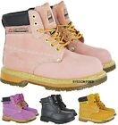 LADIES WORK PINK LEATHER SAFETY STEEL TOE CAP TRAINER HIKING BOOTS UK 4 5 6 7 8
