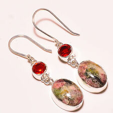 """TOURMALINE , FACETED MOZAMBIQUE GARNET 925 STERLING SILVER EARRINGS 1.80"""""""