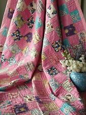 """Pretty in Pink! VINTAGE 30-40s One Patch QUILT 80"""" x 67"""""""