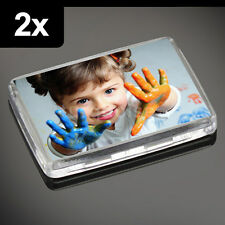 2x Premium Quality Clear Acrylic Blank Photo Fridge Magnets 50 x 35 mm