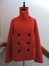 JCREW J CREW *LOVELY* CLASSIC RED WOOL WINTER PEA COAT 2 (XS)
