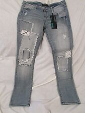"""Ladies """"Premiere"""" size 9/10R, Blue, Destroyed & Patched, Low Rise, Skinny Jeans"""