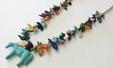 Hand Carved Multicolored Horse with Mixed Animals Fetish Necklace