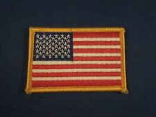 United States of America 50 Star American Flag Gold Border Iron On Patch 2x3