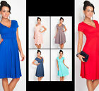 Sexy Women Maternity Dress Tunic Short Sleeve V-Neck Stretchy Skirt MultiColor