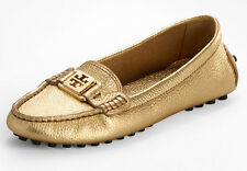 NEW TORY BURCH Kendrick Metallic Gold Leather/Logo Driving Moccasin Loafers 10 M