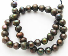 """Freshwater Pearl Peacock Coffee Large 10-11mm Potato Round Beads 15"""" Strand W31"""