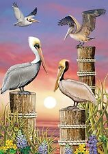 "Pelicans at Sunset Summer Garden Flag Nautical 12.5"" x 18"""