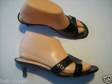Talbots Black Leather Croc Slides Mules Heels Sandals Shoes Size 6.5 @ cLOSeT