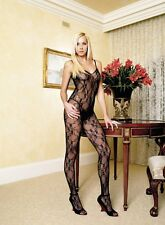 Spitzencatsuit Schwarz Sexy Lace Open Crotch Body Stocking Bodysuit Catsuit  S-L