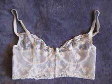 VTG JEZEBEL Renee Hollywood BUSTIER CORSET Lace Victorian Button Front BRA 36B
