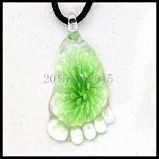 Fashion Women's foot lampwork Murano art glass beaded pendant necklace #Q248