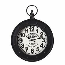 Adeco Antique-Inspired Black Iron Pocket Watch Style Wall Hanging Clock