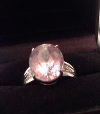 Stunning BIG 7.5CT Oval Cut Brazilian PINK KUNZITE & Diamond 9K White Gold Ring
