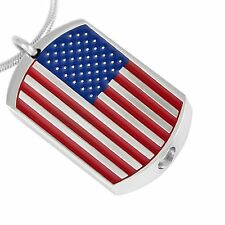 Stainless Steel USA Flag Dog Tag Cremation Pendant Urn Ashes Human Patriotic