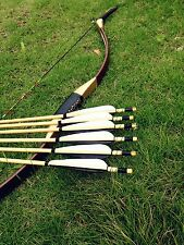 Chinese Longbow recurve bow longbow Archery longbow +6 wooden arrows 28'' 20-60#