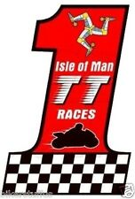 ISLE OF MAN TT RACES MOTO NUMBER # 1 STICKER RACING BUMPER STICKER