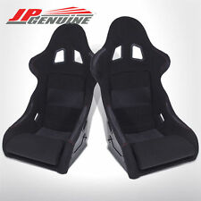 PAIR JDM 1PC DESIGN BUCKET RACING SEATS FIBERGLASS BLACK CLOTH / RED STITCH