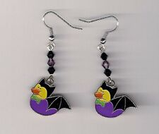 Halloween Earrings -Bat Rubber Ducks beaded with Swarovski Beads