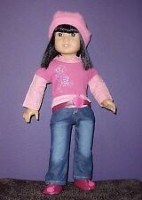 American Girl Doll 5 Piece Outfit Hat Jeans Sweater/Shirt Belt/Hair Band Shoes