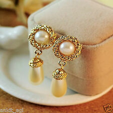 Stile Beautiful 18K Gold Plated Pearl Dangle Bollywood Imitation Earrings Women