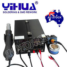 3IN1 853D 5A DC POWER SUPPLY HOT AIR GUN REWORK SOLDERING iron STATION OZ SELLER