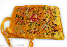 SILK JEWELRY TRAVEL BAG Roll Case Pouch Carrying Brocade Fabric Riches yellow