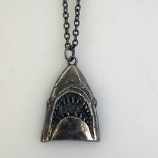 Authentic JAWS Classic Emerging Shark Head Logo Metal Pendant Necklace NEW