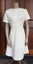 Vintage 70s Cream Hand Knit Acrylic Leaf Cable A-Line Sweater Dress Sz S/M