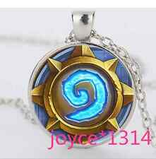 WoW World of Warcraft Hearthstone Glass Dome Pendant Silver Necklace #XP-1027
