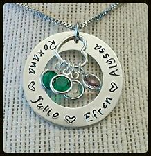 Hand Stamped Mothers / Mom Name Necklace ~ Aluminum Washer w/ Birthstone Charms