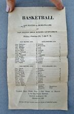 1935 Vintage High School Basketball Schedule: SAN MATEO vs. BURLINGAME, CA