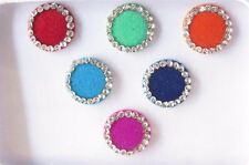 30 Colored Round Style Colored Bindis Studded With Rhinestones/Indian  Bindis