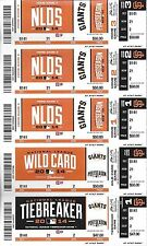 2014 NLDS FULL UNUSED BASEBALL TICKETS SHEET - NATIONALS @ SAN FRANCISCO GIANTS