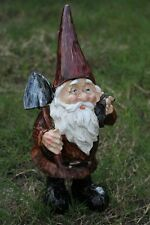 "Gnome Statue w Shovel Garden Statue Figurine Yard Decor 12"" Carved Wood Look New"