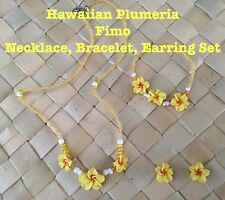 Hawaiian Plumeria Flower Fimo Necklace Bracelet Earring Set Yellow Wedding Brida