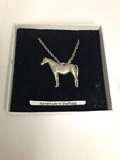 Arab Horse E08 Horse & Equestrian Emblem on Silver Platinum Plated Necklace 18""