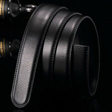 Black Luxury Men Genuine Leather Belt Wristband Strap Without Automatic Buckle