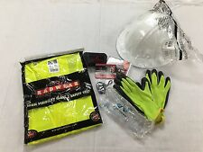 Construction New Hire Starter Kit Safety Glasses Hard Hat Gloves Ear Plugs Vest