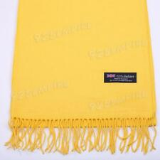 Men's 100% CASHMERE Warm PLAIN Scarf pure solid Yellow Wool MADE IN SCOTLAND